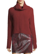 Tobin Cable-Knit Cropped Turtleneck Sweater