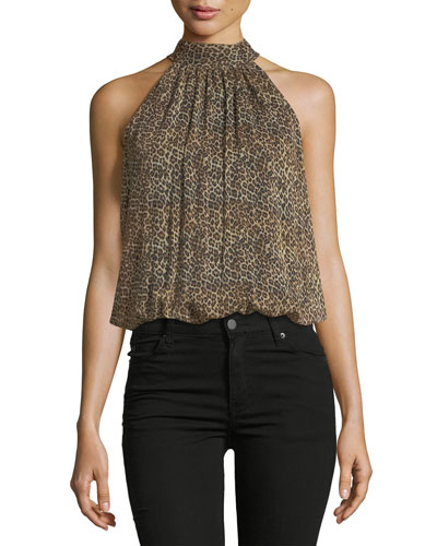 Maris Gathered Leopard-Print Sleeveless Halter Top