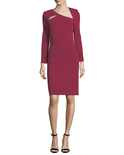 Scottie Asymmetric Neck Fitted Sheath Dress w/ Cutouts