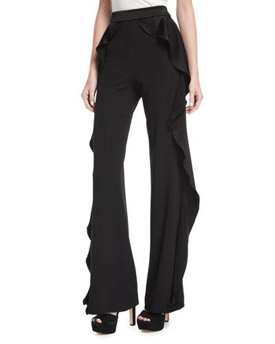 Wallace Side-Ruffle Flared Pants