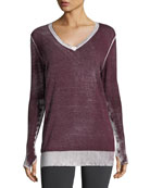 Twist-Back Long-Sleeve Performance Top