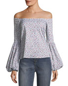 Gisele Off-the-Shoulder Blouson-Sleeve Blouse