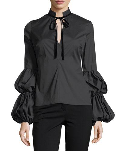Yasmin Tiered-Sleeves Tie-Neck Poplin Blouse