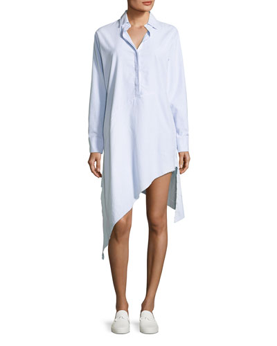 Drake Long-Sleeve Asymmetric-Hem Shirtdress
