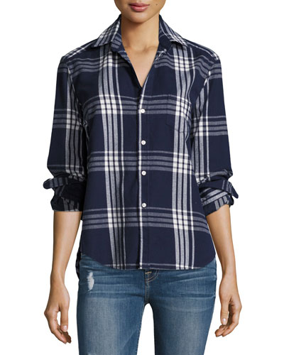 Eileen Button-Front Plaid Cotton Shirt