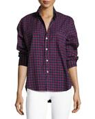 Eileen Check Button-Front Cotton Shirt