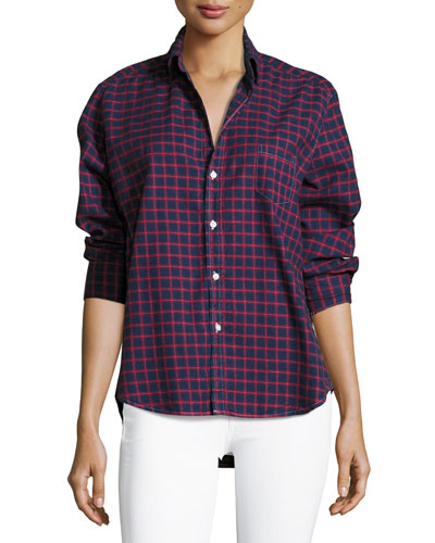 Eileen Check Button-Front Cotton Shirt