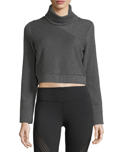 Soleil Long-Sleeve Cropped Turtleneck Top