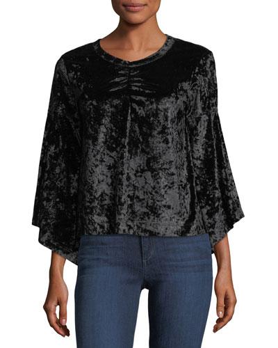 3/4-Sleeve Velvet Top