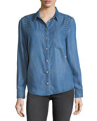 Embroidered Long-Sleeve Denim Shirt