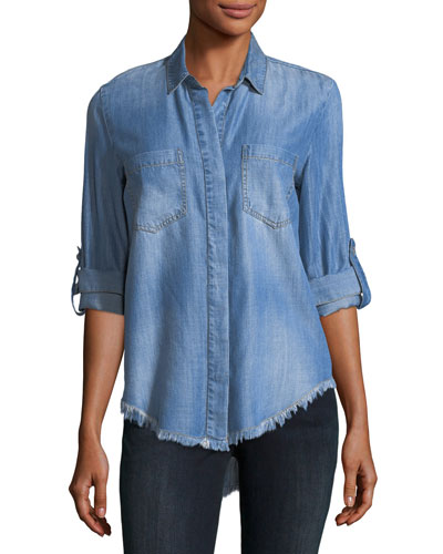 Frayed-Hem Denim Shirt