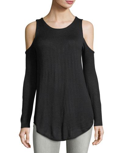 Cashmere-Blend Cold-Shoulder Sweater