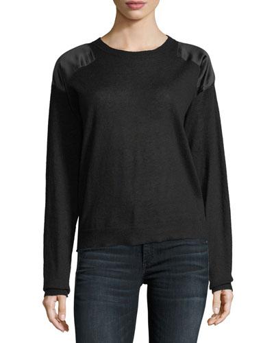 Kansas Satin-Patch Cashmere Sweater