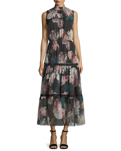 Rana Mock-Neck Floral-Print Chiffon Cocktail Dress w/ Scalloped Trim