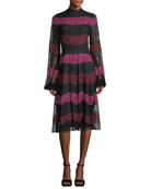Venad Mock-Neck Striped Lace Cocktail Dress