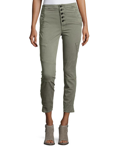 Brigitte Sky High Utility Cropped Cargo Pants, Gray
