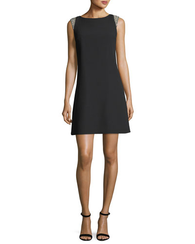 Bateau-Neck Cap-Sleeve Trapeze Crepe Cocktail Dress