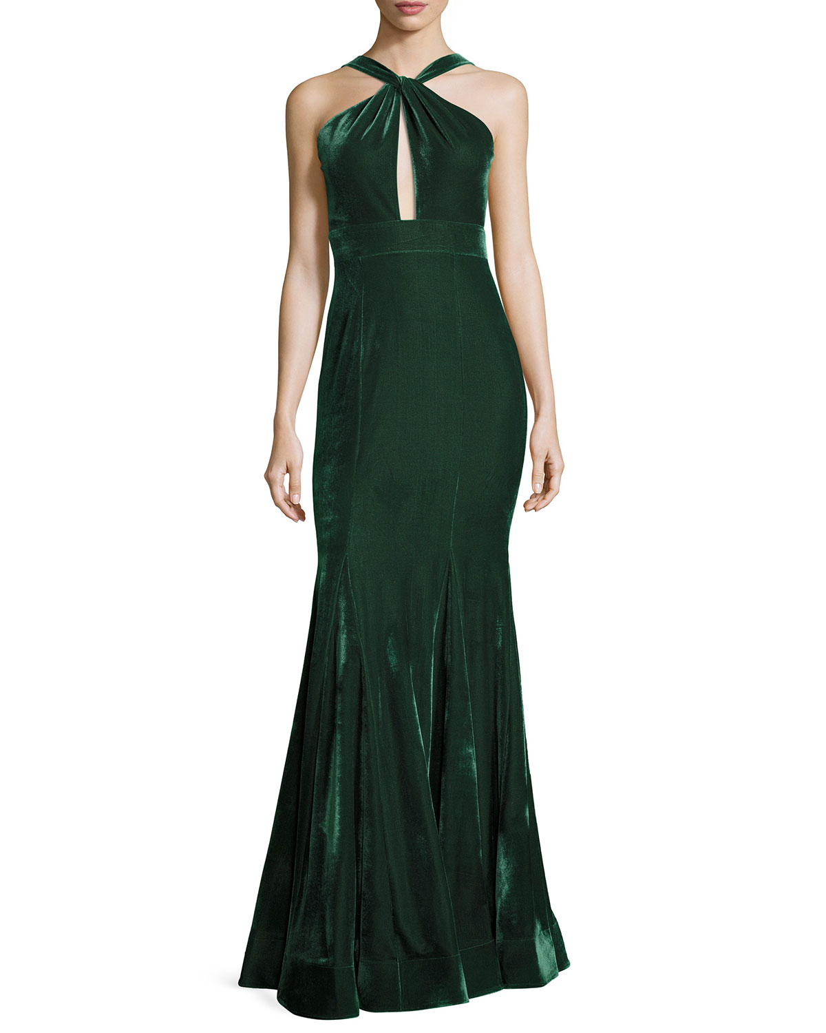 Velvet Halter Mermaid Gown