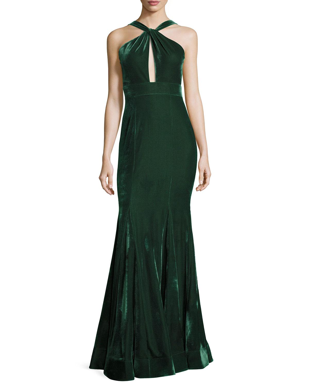 Velvet Halter Mermaid Gown