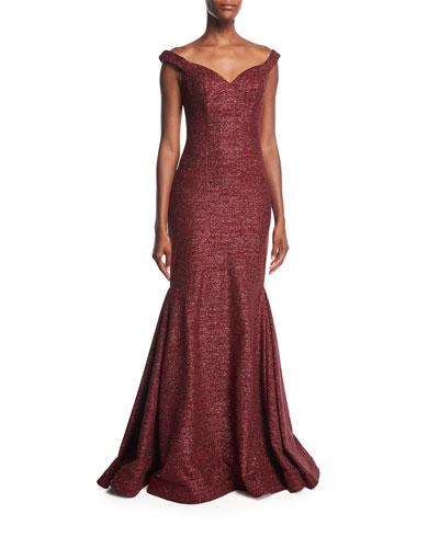 Metallic Off-the-Shoulder Evening Gown
