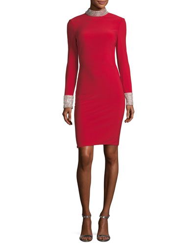 Long-Sleeve Cutout Back Jersey Cocktail Dress w/ Jewel Bands