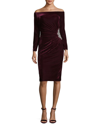Off-the-Shoulder Velvet Cocktail Dress w/ Side Embellishment