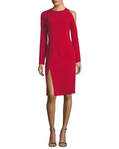 Covina Cold-Shoulder High-Slit Cocktail Dress