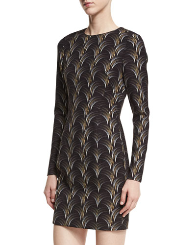 Lively Long-Sleeve Printed Mini Dress