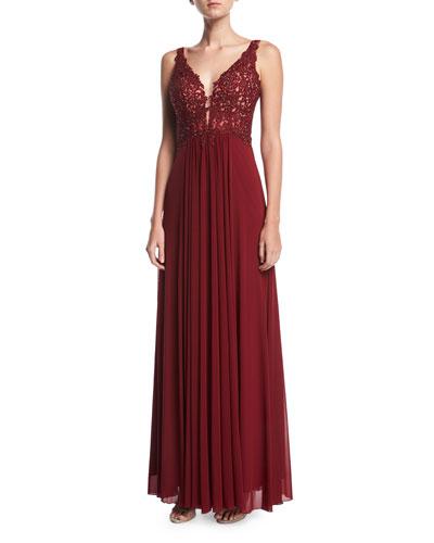Lace Sleeveless V-Neck Mesh Cocktail Dress