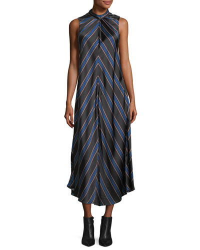 Nari Chevron-Print Sleeveless Silk Dress