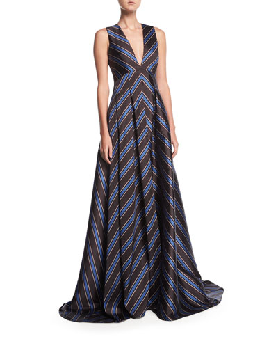 Amrita Deep-V Sleeveless Chevron Evening Gown