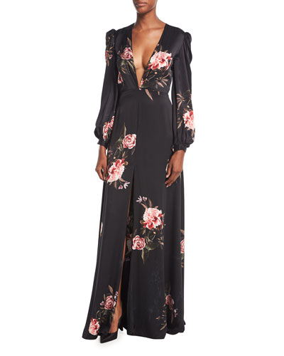 Meena Plunging-Neck Floral-Print Silk Evening Gown