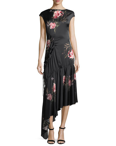 Huma Floral-Print Asymmetric Drawstring Satin Cocktail Dress