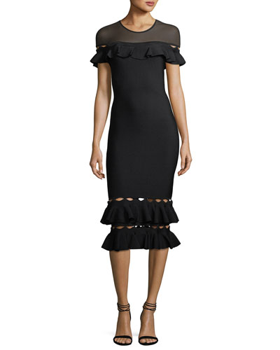 Lou Cocktail Dress w/ Cutout Ruffle Hem