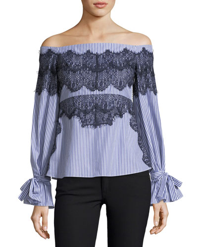 Isadora Off-the-Shoulder Striped Poplin Top w/ Lace