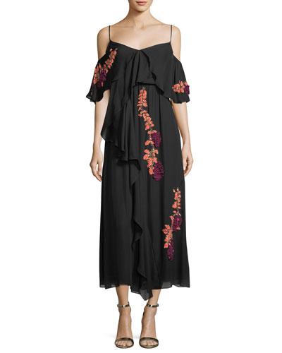 Lorena Wisteria Sequins Sleeveless Draped Midi Dress