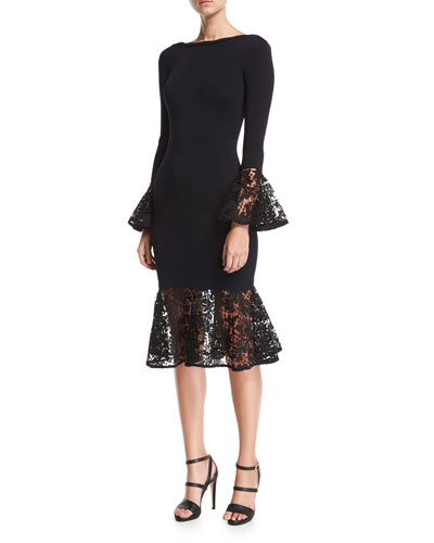 Kochi Scoop-Back Fitted Midi Cocktail Dress w/ Lace