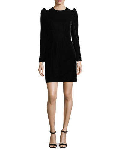 Long-Sleeve Puff-Sleeve Velvet Sheath Cocktail Dress