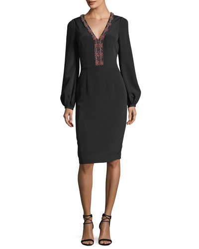 Long-Sleeve Braid-Trimmed V-Neck Crepe Cocktail Dress