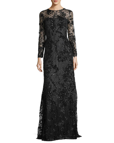 Long-Sleeve Sequined Lace-Yoke Evening Gown