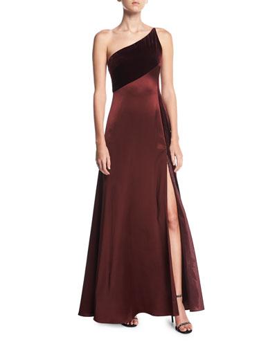 One-Shoulder Sleeveless Silk-Velvet Slip Evening Gown