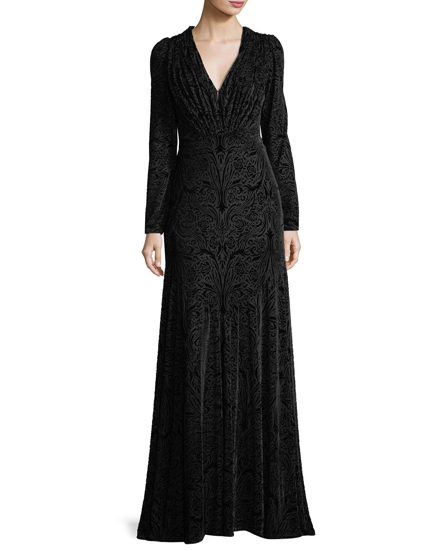 Long-Sleeve Deep V-Neck Burnout Velvet Mermaid Gown