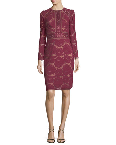 Long-Sleeve Lace Cocktail Dress w/ Sequin Trim