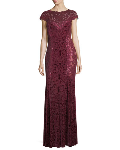 Cap-Sleeve Sequined Burnout Velvet Evening Gown