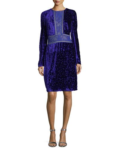 Long-Sleeve Velvet Burnout Cocktail Dress w/ Lace Trim