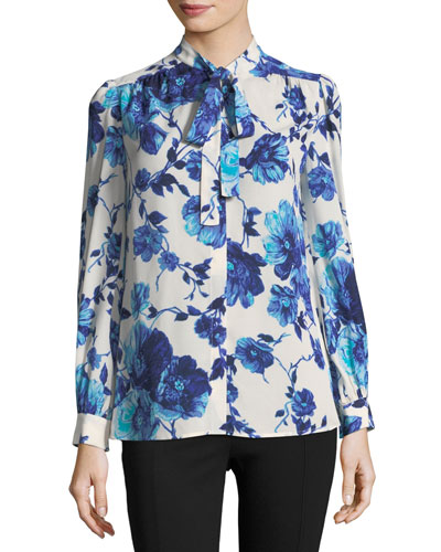 Kia Long-Sleeve Lili Floral Silk Bow Blouse