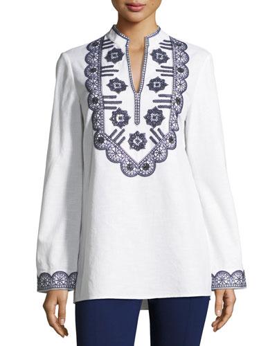 Long-Sleeve Richa Embroidered Tory Tunic