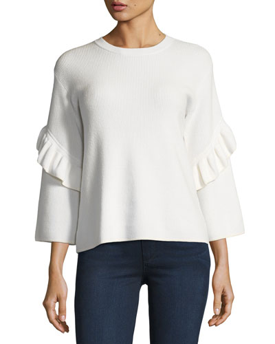 Ashley Ribbed Ruffle-Sleeve Sweater