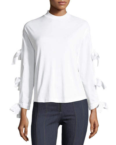 Emilia Long Tie-Sleeve Poplin Top