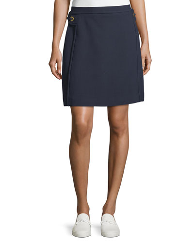 Double-Weave A-Line Skirt w/ Grommet Trim